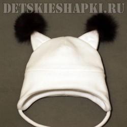 """Шапка """"Бельчонок"""" белая"""