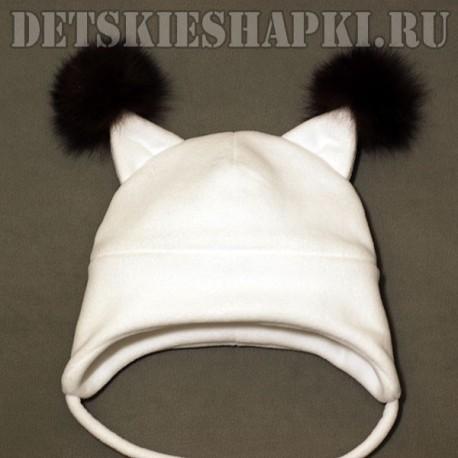 """Шапка """"Бельченок"""" белая"""