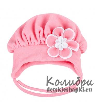 Шапка зимняя с цветком (розовая)